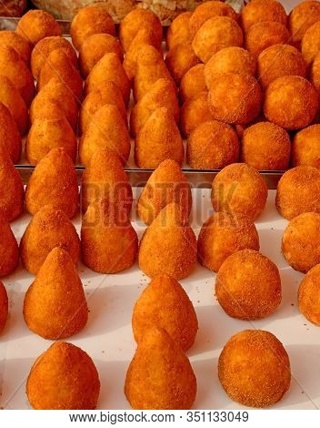 Stuffed Balls Rice Is A Typical Dish Of Italy Called Arancini In Italian Language For Sale At Outdoo