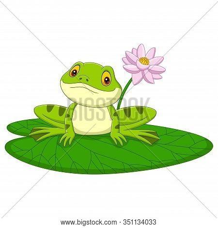 Vector Illustration Of Cartoon Green Frog Sitting On A Leaf