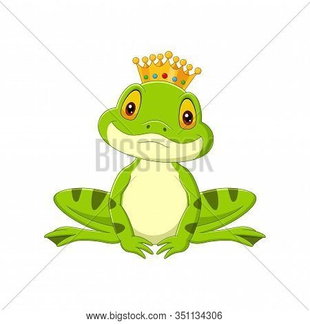 Vector Illustration Of Cartoon Happy King Frog On White Background