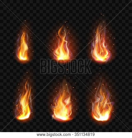 Realistic Fire, Torch Flame Icons Set Isolated On Transparent Background. Burning Campfire Or Candle