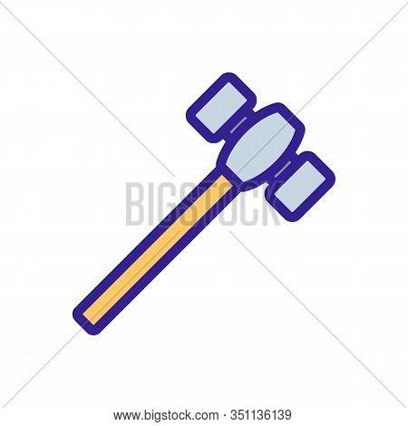 Blacksmith Hammer Icon Vector. Thin Line Sign. Isolated Contour Symbol Illustration