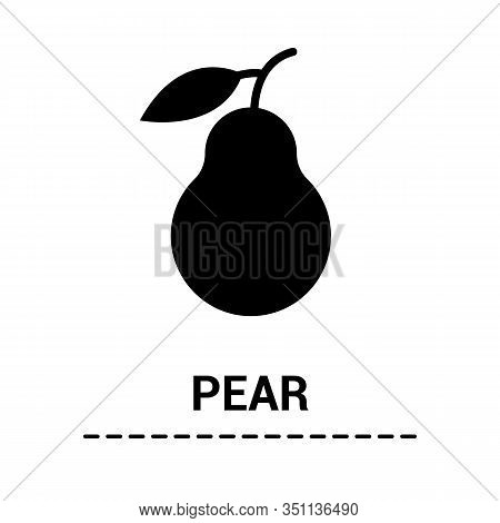 Pear With A Leaf. Flat Black Glyph Icon Fruit Isolated White Background. Silhouette Symbol. Vector I