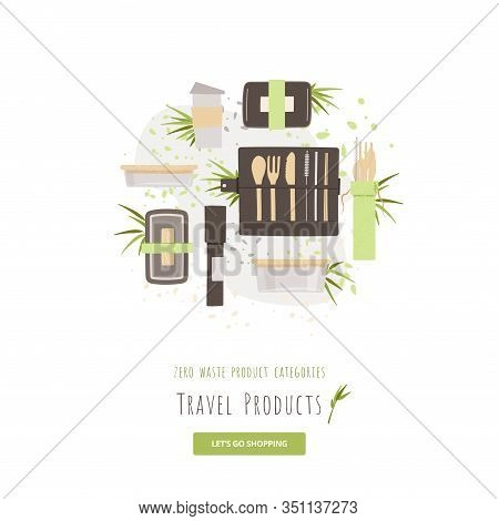 Vector Set Of Natural Bamboo Travel Cutlery Kit - Lunch Boxes, Reusable Coffee Mug With Portable Ute