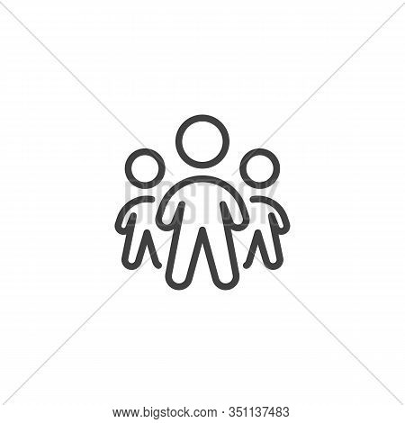 Team Group Line Icon. Three People Standing Linear Style Sign For Mobile Concept And Web Design. Tea