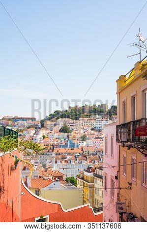 Lisbon, Portugal - September 13, 2019: Outdoor Cafe On The Old Streets Of Alfama, Overlooking Baixa