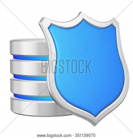 Data Base Behind Metal Blue Shield On Right Protected From Unauthorized Access, Data Privacy Concept