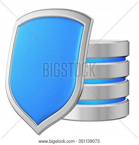 Database Behind Metal Blue Shield On Left Protected From Unauthorized Access, Data Privacy Concept,
