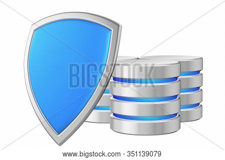 Data Bases Group Behind Blue Metal Shield On Left Protected From Unauthorized Access, Data Privacy C