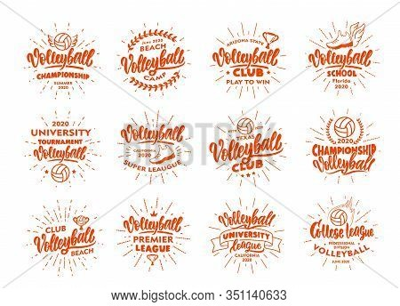Set Of Vintage Volleyball Emblems And Stamps. Orange Badges, Templates And Stickers For Volleyball C