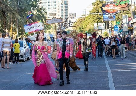 Pattaya, Thailand - February 15, 2020: A Part Of Colorful Of Lgbt Parade With People Wearing Rainbow