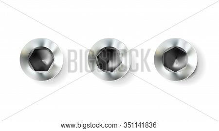 Set Chrome Imbus Screw, Bolt With A Cylindrical Head. Shiny Cap Twisted In Surface Isolated On White