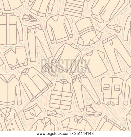Mens Clothes Collection Icons Pattern. Male Casual Clothing Seamless Background. Seamless Pattern Ve
