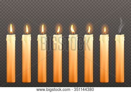 Candles With Different Fire Flames And Dripping Wax Isolated On Transparent Background. Vector Reali