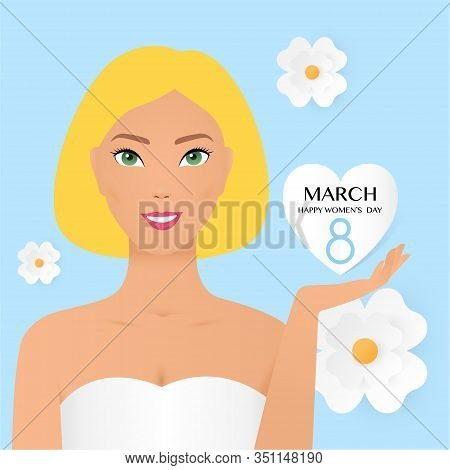 8 March International Women S Day Vector Illustration Concept, Woman Head Illustration From Side Vie