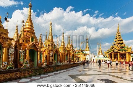 Yangon, Myanmar - Nov 02, 2019: Shwedagon Pagoda Temple In Yangon, Myanmar Former Burma In Asia