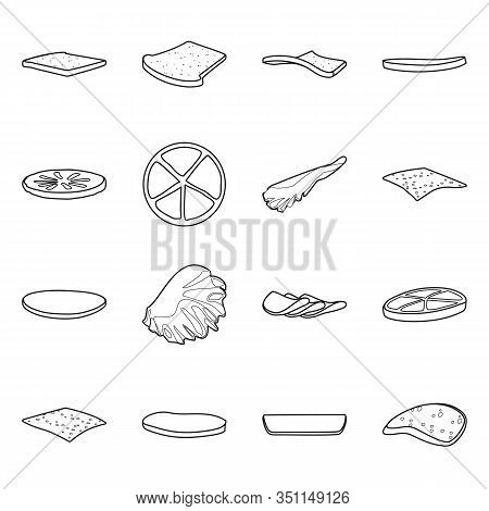 Vector Design Of Fastfood And Lunch Sign. Set Of Fastfood And Ingredient Stock Vector Illustration.