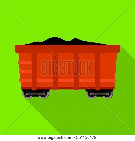 Isolated Object Of Wagon And Cargo Icon. Web Element Of Wagon And Coal Vector Icon For Stock.