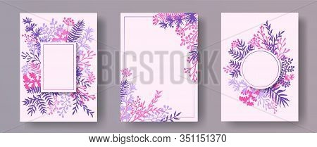 Wild Herb Twigs, Tree Branches, Flowers Floral Invitation Cards Collection. Herbal Corners Rustic Ca