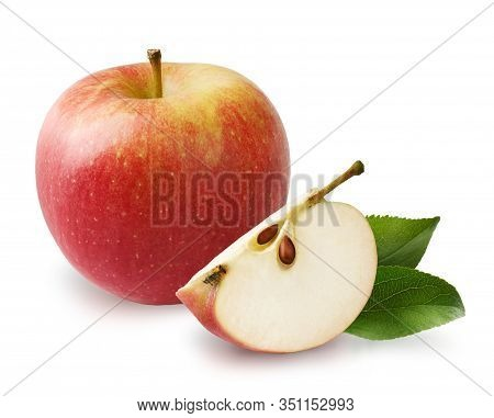 Beautiful Red Apple With Apple Leaves And Apple Slice Isolated On White Background.