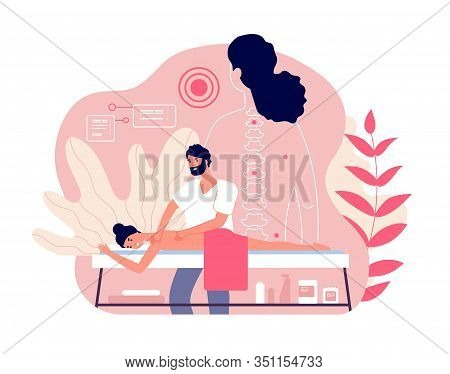 Massage. Woman Enjoy Relaxing Spa. Professional Body And Muscle Pain Treatment With Doctor. Wellness