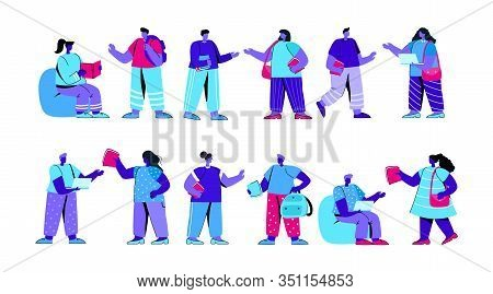 Set Of Funny College Or University Students Or Pupils Preparing For Exams. Bundle Of Classmates Or S