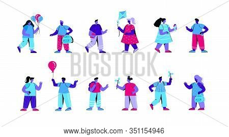 Set Of Kindergarten Children Playing With Pinwheels, Kites, Eating Ice Cream. Bundle Of Primary Or E