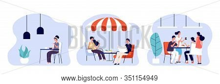 People Eating. Women Man Have Lunch, Breakfast Or Dinner In Different Places. Cafe, Restaurant And O