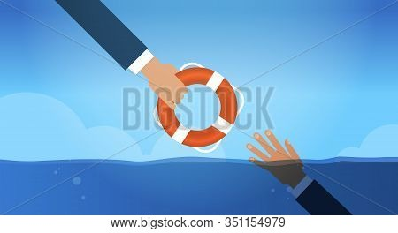 Drowning Businessmn Hand In Water Getting Lifebuoy From Another Businessperson Helping Business To S