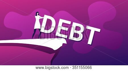 Businesswoman Pushing Debt Word Into Abyss Freedom Finance Crisis Concept Horizontal Full Length Vec