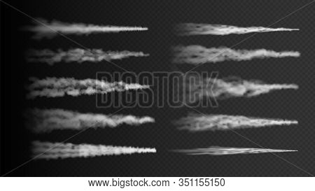 Plane Track. Rocket, Airplane Steam Trail Isolated On Transparent Background. Realistic White Smoke