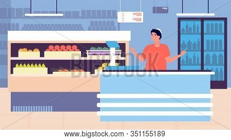 Grocery Store Shopping. Retail Store Interior And Young Cashier. Supermarket Assistant, Hypermarket