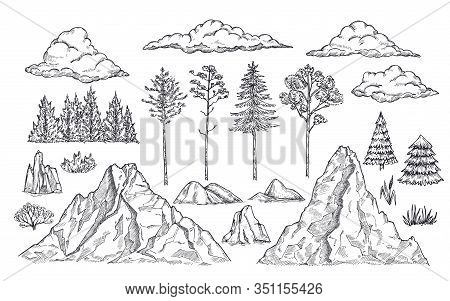 Nature Landscape Elements. Mount Rocks, Trees And Bush. Sketch Isolated Park, Garden Or Forest Silho