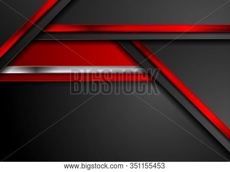 Red, Black And Metallic Abstract Hi-tech Background. Vector Geometric Design