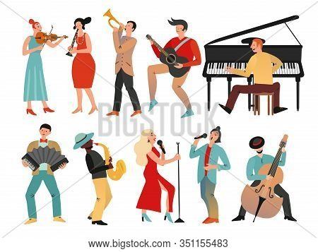 Musicians. Professional Orchestra And Musician Band. Isolated People With Music Instruments. Vector