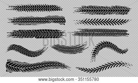 Tire Trace Track. Abstract Wheels Braking Distances, Tread Silhouettes Brushes. Isolated Car Or Moto