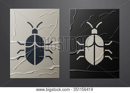 White System Bug Concept Icon Isolated On Crumpled Paper Background. Code Bug Concept. Bug In The Sy
