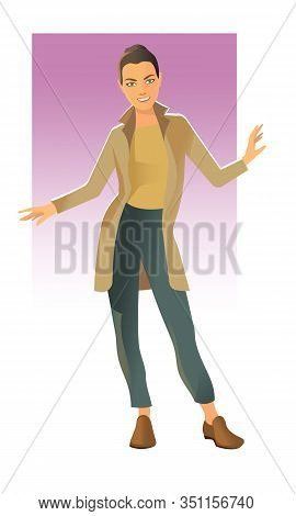 A Girl In A Full-length Cashmere Coat Stands Facing The Viewer.
