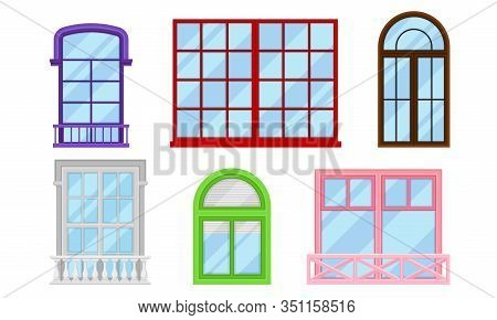 Framed Glass Windows View From Outside Vector Set