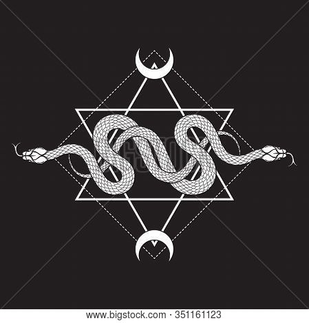 Two Serpents Over The Six Pointed Star Line Art Boho Chic Tattoo, Poster, Tapestry Or Altar Veil Pri