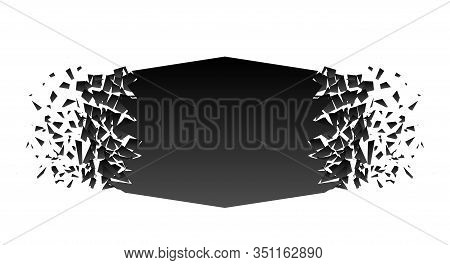 Abstract Black Explosion Isolated On White Background. Vector Square Destruction Shapes With Debris.