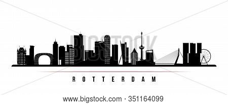 Rotterdam Skyline Horizontal Banner. Black And White Silhouette Of Rotterdam, Netherlands. Vector Te
