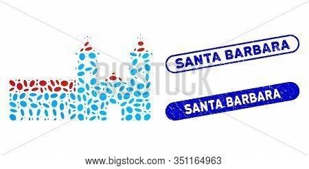 Mosaic Santa Barbara Mission And Corroded Stamp Seals With Santa Barbara Caption. Mosaic Vector Sant