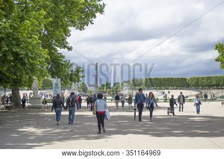 Paris, France - 7th June, 2019: View From The Tuileries Gardens To The Place De La Concorde, Egyptia