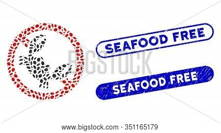 Mosaic Seafood Free And Corroded Stamp Seals With Seafood Free Text. Mosaic Vector Seafood Free Is C