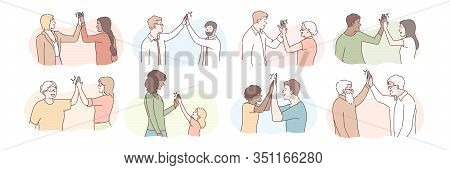 People Giving High Five Set Concept. Group Of Young And Old People Make Informal Greeting. Illustrat