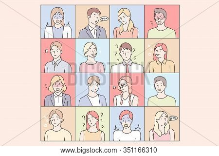 Young Peoples Emotions Set Concept. Collection Of Illustrations Of Men And Women Expressing Differen