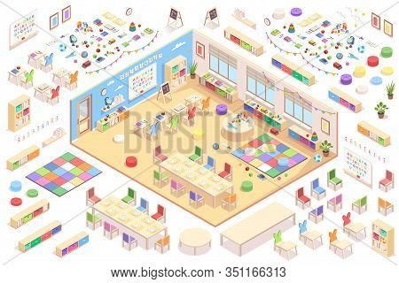 Kindergarten Interior Constructor, Isometric Vector Elements Of Furniture, Education Supplements And