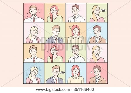 Business People Emotions And Facial Expressions Set Concept. Collection Of Illustrations Businessmen