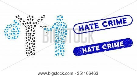 Mosaic Euro Robbery And Distressed Stamp Seals With Hate Crime Text. Mosaic Vector Euro Robbery Is C