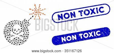 Mosaic Mortal Bomb And Distressed Stamp Seals With Non Toxic Text. Mosaic Vector Mortal Bomb Is Desi